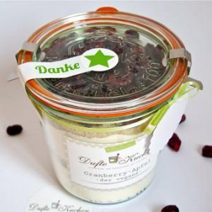 vegane Backmischung, Backmischung, Apfel-Cranberry