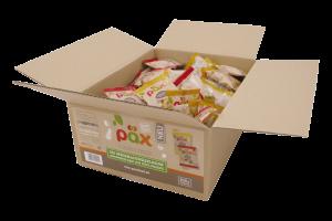 Eine 100er-Portionsbox Knusper-Fruchtmixe aus dem Hause Päx.